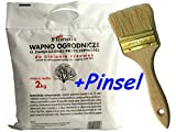 2 KG Weißanstrich + Pinsel MIT ERHÖHTER HAFTFÄHIGKEIT (ADHESION) Baumanstrich Obstbäume Frostrisse GARTENKALK Düngermittel zur Bodenentsäuerung