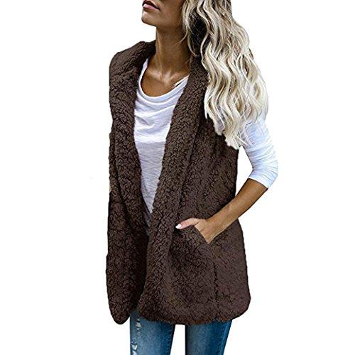 SHOBDW Mujeres invierno cálido chaleco piel sintética zip hasta Sherpa chaqueta sudadera...