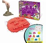 Super Preis Kinetischer Sand kinderknete knetmasse set Bastelsand sandspielzeug sandkastenspielzeug sandkasten spielzeug für kinder jungen, mit Matten und Formteile aus Plastik Werkzeug Zubehör, 500g, 2 colour