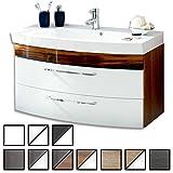 Waschtisch Belum Walnuss-weiß (Waschbecken mit Waschbeckenunterschrank) Breite ca. 100 cm, für Gäste-WC, Form recht-eckig, hängend, Front leicht geschwungen, 2 Schubladen breit, hochglanz