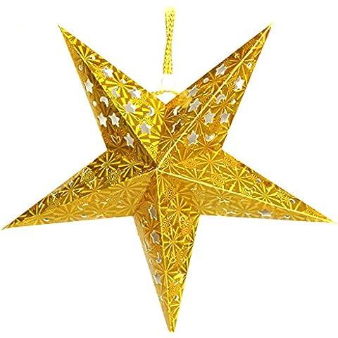 Hivel Adorno De Navidad Bling Plegable Estrella Arbol de Navidad Chucherias Christmas Ornamento Decoracion Xmas Hanging Star Colgante 30cm - Oro