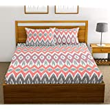 FabTheory Bird's Eye Symmetry 104 TC 100% Cotton Double Bedsheet with 2 Pillow Covers, Peach