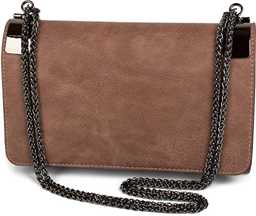 styleBREAKER Clutch, Abendtasche mit Metallspangen und Gliederkette, Vintage Design, Damen 02012046, Farbe:Altrose dunkel - Design-clutch Geldbörse
