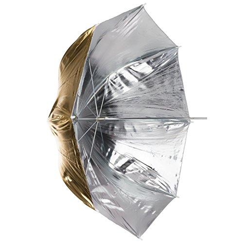 Dörr URN-48GS Lichtformer 2-in-1 Reflektor Schirm (Durchmesser: 93 cm, Bogenspanne: 120 cm) Gold/Silber -