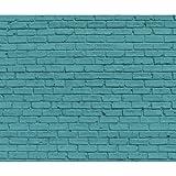 decomonkey Fototapete 3d Steinwand Steine 400x280 cm XXL Design Tapete Fototapeten Tapeten Wandtapete moderne Wand Schlafzimmer Wohnzimmer Ziegel Ziegelmauer Türkis Mint