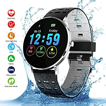 Smartwatch, Kivors IP68 Impermeable Reloj Inteligente Classic Ronda de Pantalla Táctil con Monitor Cardiaco, Monitor de Sueño, Podómetro, Notificación de ...