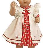 Schildkröt, rotes Kleid mit Schürze für 64 cm Puppen mit 40 cm Bauchumfang