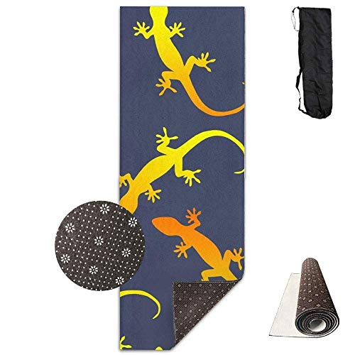 HiExotic Matte Yoga Mat Eco-Friendly Anti Slip Lizards Gecko Party On Dark Blue Eco-Friendly Non-Slip Yoga Mat Thick Pro Exercise and Pilates Mat with A Yoga Bagfor Exercise,Yoga and Pilates 71 X 24 I - Gecko Yoga-matte