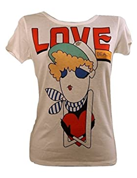 T-SHIRT MANICA CORTA STAMPA - MOTIVO LOVE - DONNA - MADE IN ITALY