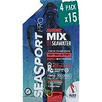 Pack 4 Seasport Pro Isotonic Mix avec de l'eau de mer, 15 sachets de 100 ml + 5 gr de poudre, avec vitamines et minéraux, saveur pastèque, pour une activité de très haute intensité.