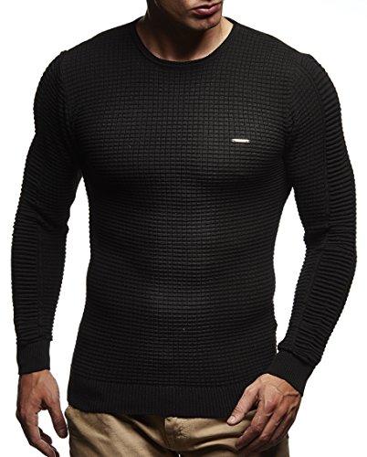 LEIF NELSON Herren Pullover Strickpullover Hoodie Basic Rundhals Crew Neck Sweatshirt langarm Sweater Feinstrick LN1545; Gr_¤e M, Schwarz