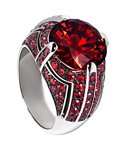 Glamour World Damen-Ring Vulcano Sterling-Silber 925 rhodiniert Zirkonia rot GR4-05-60