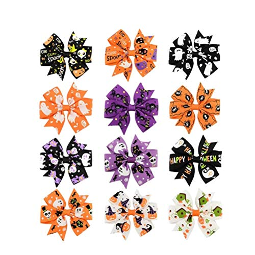 12pcs Female Halloween Hair Bow Clips Boutique Cute Bow Party Hair Accessary Barrettes Hair Clips Hairpin For Girls Kids Baby (Halloween-boutique Hair Bows)