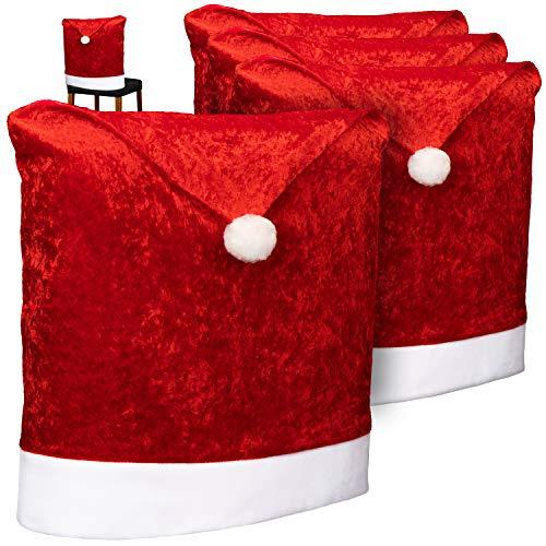 com-four® 4X Hochwertige Stuhlhussen für Weihnachten - Weihnachtsdeko für Stühle - Premium Stuhlabdeckung im weihnachtlichen Design - Stuhlbezug (004 Stück - Samt)