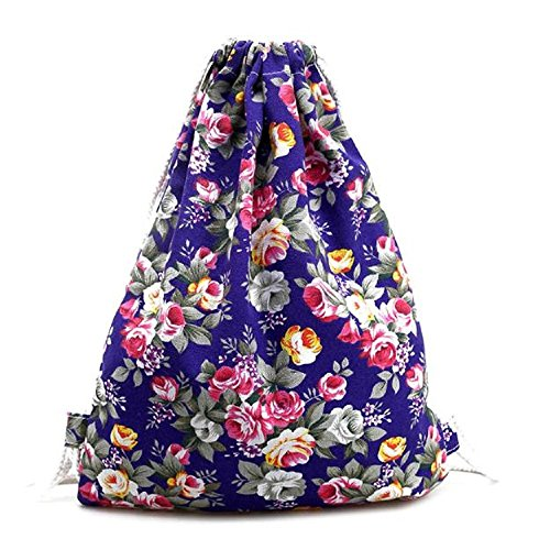 Tonsee Damen Floral Canvas Rucksack Fashion Drawstring Backpack Lila