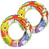com-four® 2X Schwimmreifen, Schwimmring mit Motiven von den Disney-Figuren Winnie Puuh, Tigger und I-Aah, Ø 45 cm (02 Stück - Ø 45 cm Winnie Puuh)