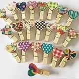uooom 40PCS Holz Klammern Mini Love Herz Form Foto Papier Pegs für Fotos Hochzeit Geschenk DIY Craft Decor