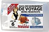 Neusu Sacs De Voyage À Rouler - Pack de 6 - Sacs De Rangement Sous-Vide - Ultra-Résistants 110 Microns (M 35 cm x 50 cm)