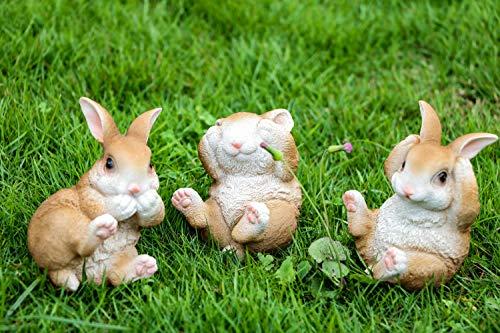 Victor's Workshop 3er Set Kunstharz Ostern Rasen 11 cm Kaninchen Häschen Osterfigur Osterdeko Frühlingsdeko Tier Figur für Haus Garten Yard Büro Dekoration MEHRWEGVERPACKUNG