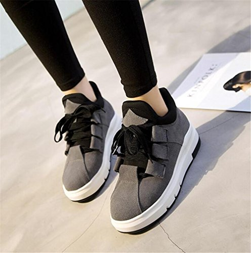 Scarpe da donna Inverno Casual Suede Lace Up Platform Fitness Walking Calzature Ankle Flat Sneakers Office Black gray