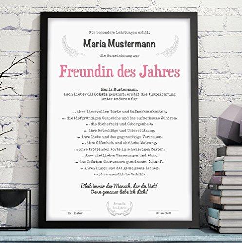 FRAU / FREUNDIN / EHEFRAU DES JAHRES Bild Urkunde Auszeichnung Danksagung - optional mit Rahmen - Geschenkidee Geburtstag Jahrestag Hochzeitstag Valentinstag