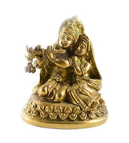 Messing Gold Ton Radha-Krishna Statue Auto Deco, Büro Decor, Tisch Decor Figur Spirituelle Welt - Art-deco-messing-tisch