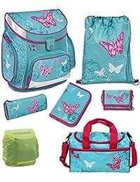 Butterfly Schulranzen Set 7tlg Scooli Campus Sporttasche Schmetterlinge türkis