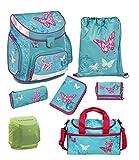 Familando Scooli Butterfly Schulranzen-Set 7tlg. Campus Up mit Sporttasche Schmetterling-e und Blumen türkis Mädchen-Schulranzen