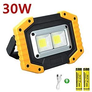 longdafei Luz de Inundación Recargable, 30W Foco LED Proyector Focos para Acampar con USB a Prueba de Agua para Acampar al Aire Libre y Luces de Seguridad para Pesca