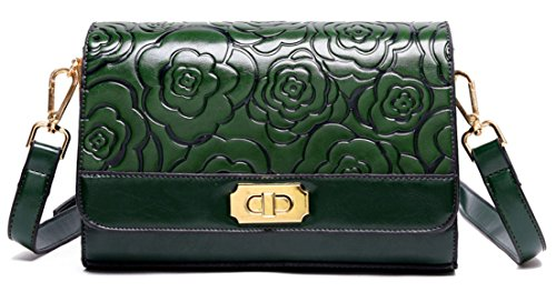 La Signora Rosa Embossed Messenger Bag Fashion Green