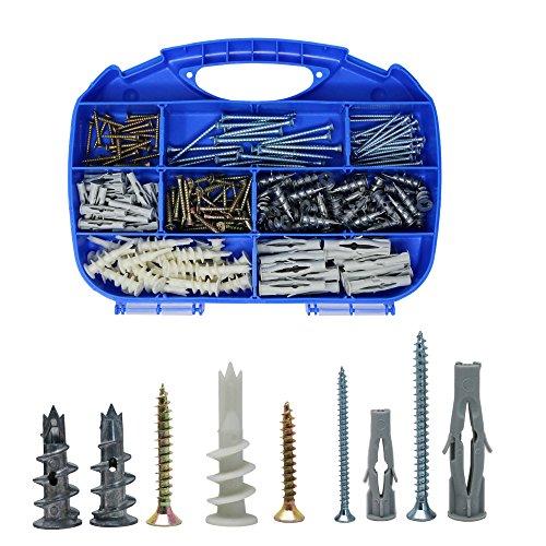 Orgrimmar Gipskartondübel Spiral Plus Metallperlen Driva Gipskartondübel Anker mit Schraube und Schrauben, 220Pcs (Spiral-anker)