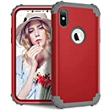 Shockproof Case for iPhone X,Artfeel Luxury detachable 3 in 1 Hybrid Hard PC + Soft Silicone Heavy Duty Drop Protection Armor Case Anti-scratch Anti-slip Bumper 360 Degree Full body Protective Cover for iPhone X 5.8 inch,Red + Gray