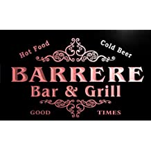 u02403-r BARRERE Family Name Bar & Grill Cold Beer Neon Light Sign Enseigne Lumineuse