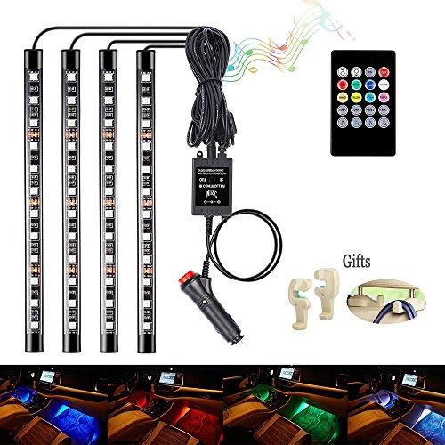 Auto Licht Streifen Auto LED Innenraumbeleuchtung Lichtleiste Auto LED Leuchten mit Sound Active Funktion und kabelloser Fernbedienung für Innenräume Kit Set[4 Stück 48 LED] (Auto Lichter)