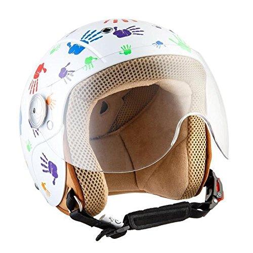 SOXON SK-55 Kids Color Hands · Vespa Bobber Biker Kids Urbano Vintage NINOS Moto motocicleta Pilot Cruiser Scooter Helmet Chopper Casco Jet Mini-Jet Mofa Retro Urban · ECE certificado · visera incluido · incluyendo bolsa de casco · Blanco · XS (51-52cm)