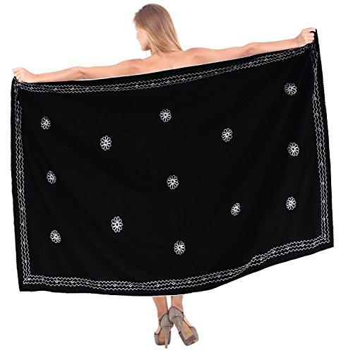 La Leela coprire involucro pareo costume da bagno spiaggia del pannello esterno costume da bagno dello swimwear delle donne nero