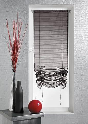 HomeMaison HM6957922 Blanc 90 x 200 cm Store à Remonter Voilage Fantaisie Tissée