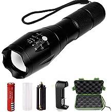 Vanzon Linterna LED Alta Potencia, Linternas Táctica Militar Recargable con 5 Modos Zoomable (incluida batería litio 18650 y cargador)