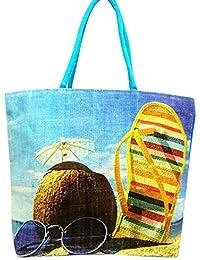 Sankh 19x13.5 Inch Jute Printed Bag-Jute Printed Fashion Shoppers Bags