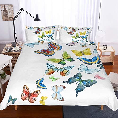 Bettwäsche-Set mit Federn, Blumenmuster King Schmetterling (Schmetterling Flecken Bettwäsche)