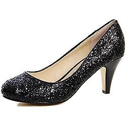 topschuhe24 612 Damen Glitzer Pumps High Heels, Farbe:Schwarz;Größe:37