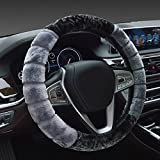 #2: NIKAVI Fur Car Steering Wheel Cover (GREY)