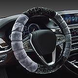 #5: NIKAVI Fur Car Steering Wheel Cover (GREY)