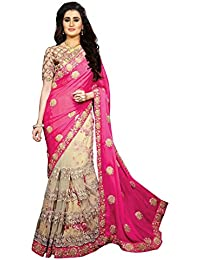 Arohi Designer Embroidered Pink & Cream Colour Silk & Georgette & Net Saree For Women With Blouse Material