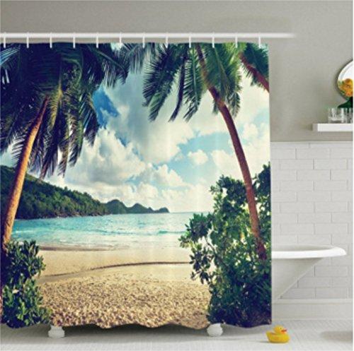 Ocean Duschvorhang Set Strand Decor von chengsan, tropischen Palmen auf Insel Himmel Strand farbiges Bild, Bad Dekorationen, mit Haken, elfenbeinfarben blau grün türkis, Polyester-Mischgewebe, #5, 71x71 inch