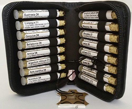 Kleine Hunde-Taschenapotheke,-PORTOFREI-,16 Mittel á 1,2g Globuli in UV-Schutzglas-Röhrchen. im hochwertigen Leder Etui mit Strahlen-Abschirmung.