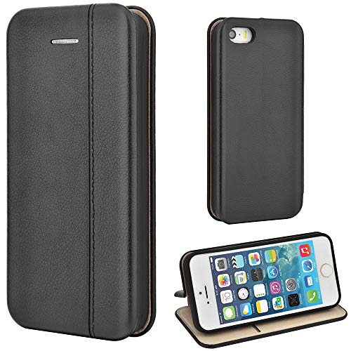 Leaum iPhone SE Hülle, iPhone 5S Handyhülle Lederhülle Flip Case für Apple iPhone SE / 5S / 5 Schutzhülle Leder (Schwarz)