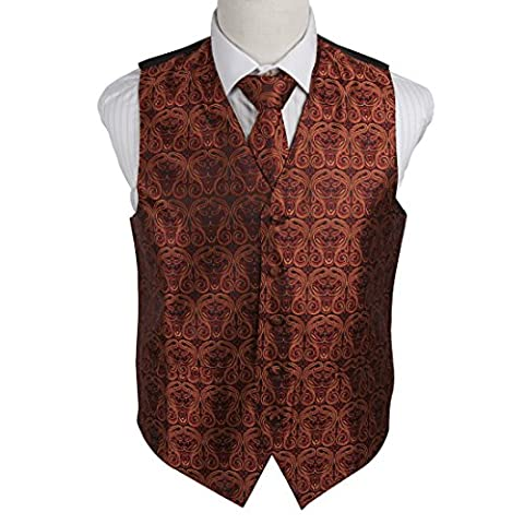 EGD1B05C-3XL Brown Black Paisley Microfiber Mens Tuxedo Waistcoats Vest Neck Tie Set Handmade Formal Wear By Epoint