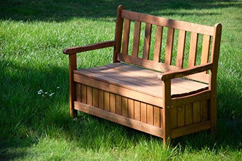 dobar Gartenbank Massive mit Lehne 2-Sitzer aus FSC Holz, 115 x 58 x 89 cm, braun - 7