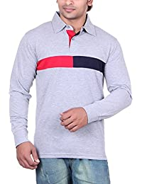 Vivid Bharti Men's Collar Grey Cotton Polo Full Sleeve T-Shirt (Premium Quality T-Shirt)